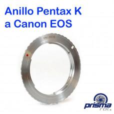 Anillo Adaptador de Montura Pentax K a Canon EOS con chip de confirmación de foco