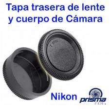 Tapa trasera de lente y cuerpo de Cámara Nikon